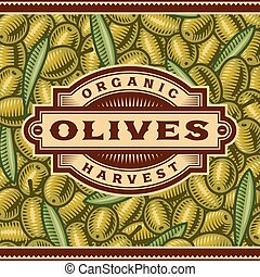 Retro Olive Harvest Label