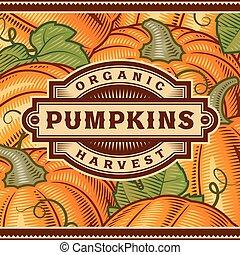 Retro Pumpkin Harvest Label