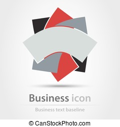 Tricolor business icon - Tricolor abstract shaped business...