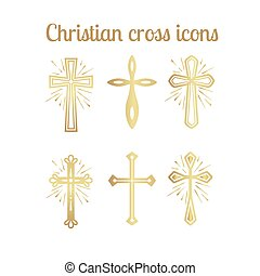 Golden christian cross icons set