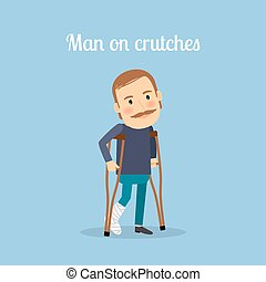 Disabled man on crutches with text. Vector illustration