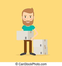 Man make repairs in the apartment. Vector illustration