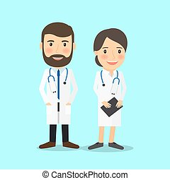 Medical doctor characters in cartoon style vector...