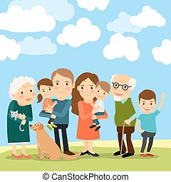 Big family and sky with clouds vector illustration