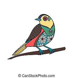 Colored bird with floral pattern Vector illustration
