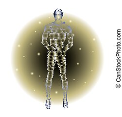 humanoid figure on abstract background