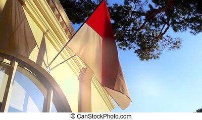 Flag of Monaco on a Wall in Monaco-Ville