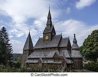 old stave church totally from wood in germany