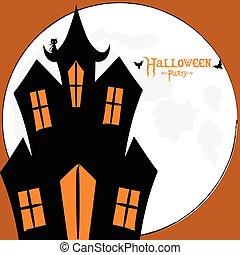Halloween spooky house card