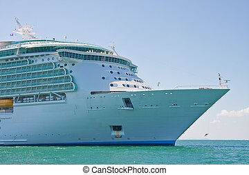 Bow of Cruise Ship at Sea - The bow of a luxury cruise ship...