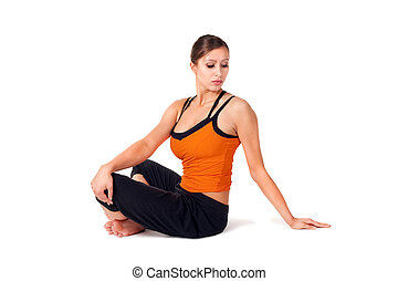 Woman Practicing Yoga Exercise - Woman doing yoga exercise...