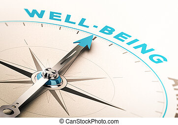 Well-being or wellness - Compass with needle pointing the...