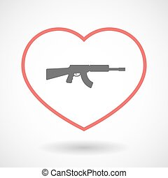 Isolated line art red heart with a machine gun sign -...