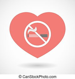 Isolated line art red heart with a no smoking sign -...