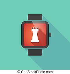 Long shadow smart watch with a rook chess figure -...