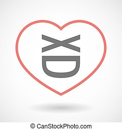 Isolated line art red heart with   a laughing text face