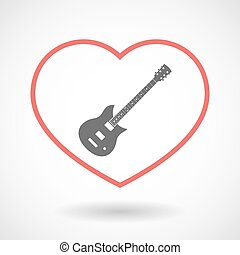 Isolated line art red heart with  an electric guitar