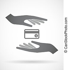 Isolated pair of hands protecting or giving a credit card -...