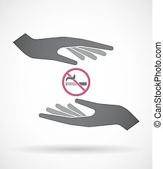 Isolated pair of hands protecting or giving  a no smoking sign