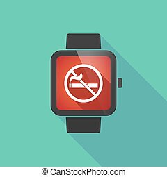 Long shadow smart watch with a no smoking sign -...