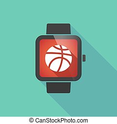 Long shadow smart watch with  a basketball ball