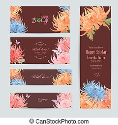 collection of greeting cards with a chrysanthemum for your desig