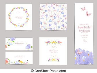 collection of greeting cards with a crocus for your design. seam