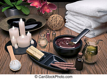 Pampering. - Spa Setting with Essence Oil, Natural Soap,...