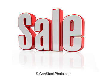3d - sale text - red-white - 3d rendering of the word sale...