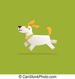 Vector cartoon illustration - funny and friendly dog -...