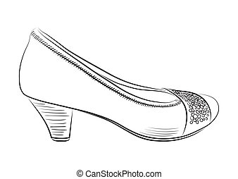 Sketch of women's shoes