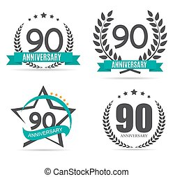 Template Logo 90 Years Anniversary Set Vector Illustration...