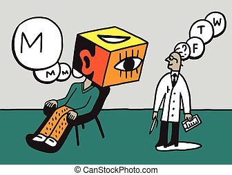 doctor psychiatrist and patient vector illustration , design...