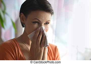 Young woman feels sickness - Portrait of young woman feels...