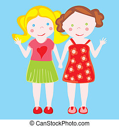 illustration of two little girls - fully editable vector...
