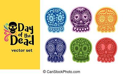 Mexican sugar skull. Dia de los Muertos set. Vector...