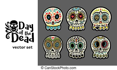 Day of the Dead Skulls, Colorful Set - Set of illustrations...