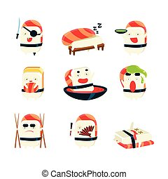 Maki Sushi Character Japan Themed Activities. Set Of Silly...