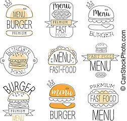 Burger Street Food Promo Labels Collection. Fast Food Of...