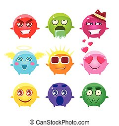 Collection Of Spherical Character Emoji Icons.Cute Emoticons...