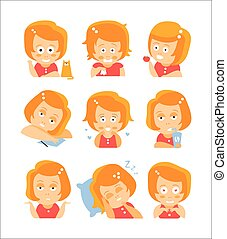 Little Red Head Girl Cute Portrait Icons. Cartoon Character...