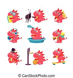 Red Dragon Everyday Business. Set Of Silly Childish Drawings...