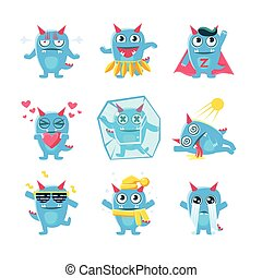 Blue Monster Character Activities. Set Of Silly Childish...