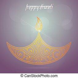Diwali festival greeting card - Indian festival Diwali...