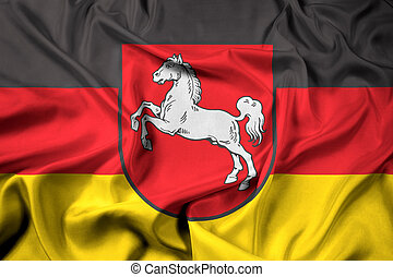 Waving Flag of Lower Saxony, Germany