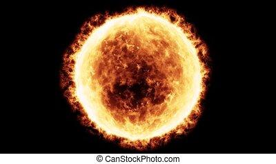 Sun star - Flaming sun in full view.