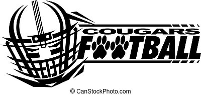 cougars football team design with helmet and facemask for...