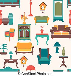 living furniture seamless pattern - Vintage style home...