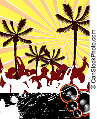 beach party - illustration of dancing silhouettes on a...