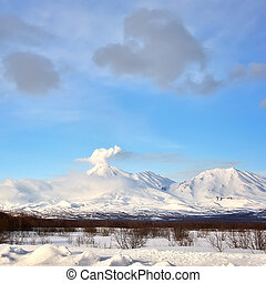Volcanic landscape of Kamchatka: winter view of Volcano